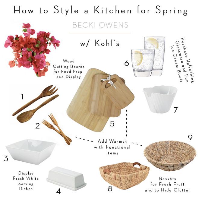 How to Style a kitchen for spring and summer. Light decor, natural elements and lots of fresh flowers. Via Becki Owens