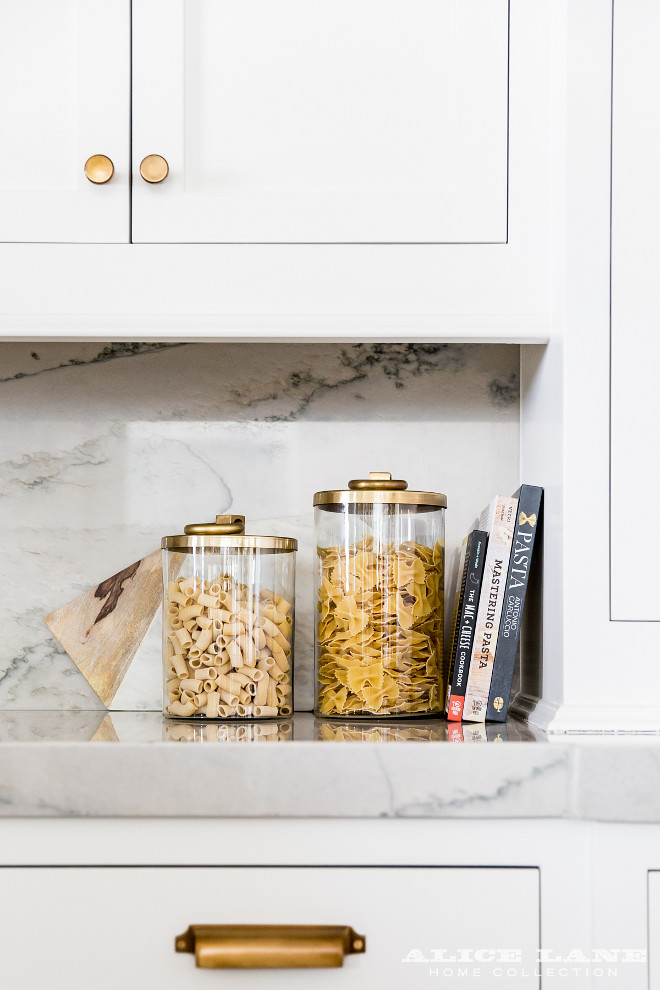 Kitchen Brass Hardware White Shaker Kitchen Cabinets with Brushed