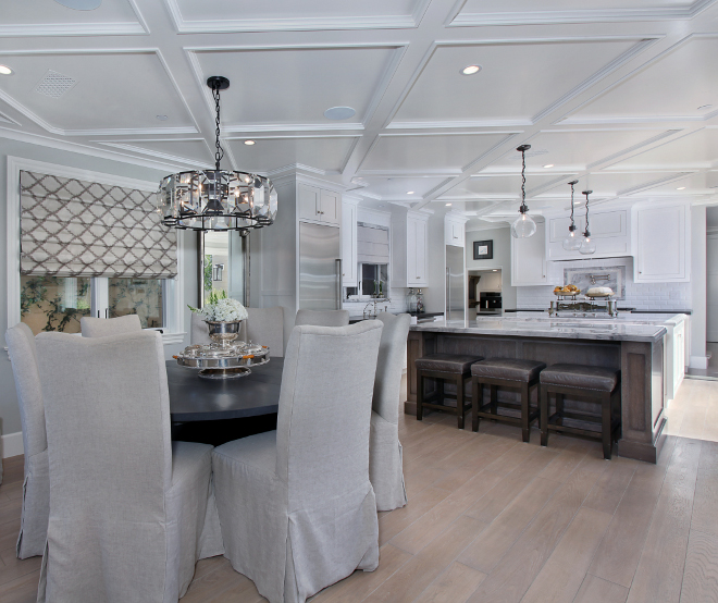 "Two island in kitchen. Two kitchen islands. The homeowner loves having two islands in the kitchen and this is what she has to say about them: ""(...) One island, which is closer to the kitchen, is informal and welcoming for family and guests to gather around while meal are being prepared. The second island, which is more formal in style and closer to the dining table, sets the mood for a sophisticated dining experience. The formal island incorporates custom storage for serving pieces, china and flatware"". #kitchen #twoislands Patterson Custom Homes"