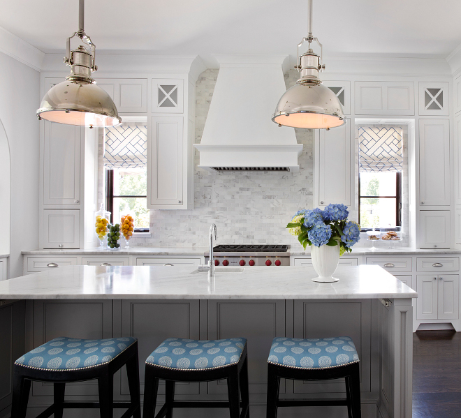 Kitchen Lighting. Kitchen lighting over island. The kitchen lighting are the Country Industrial Pendants from Visual Comfort - $1,470.00 each. #kitchen #lighting #kitchenlighting #pendants #CountryIndustrialPendants TS Adams Studio Architects. Traci Rhoads Interiors.