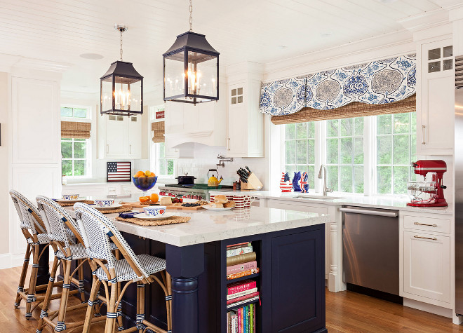 Kitchen. White kitchen with navy island paint color suggestions. White kitchen with navy island reno. White kitchen with navy island renovation. White kitchen with navy island ideas #Whitekitchen #navyisland Violandi + Warner Interiors