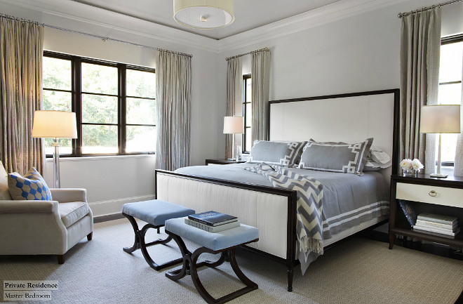 Master Bedroom. This bedroom feels elegant and calm -- nothing is too busy nor too boring. #MasterBedroom #relaxingbedroom TS Adams Studio Architects. Traci Rhoads Interiors.