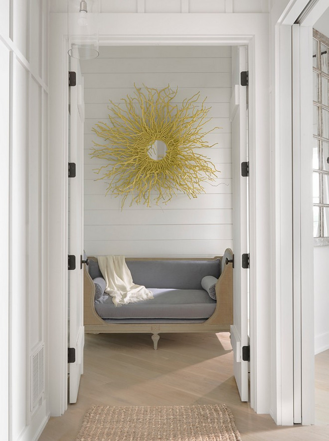 Master Entry. Entry to Master with settee, mirror, light wood hardwood flooring. #Entry #Master Amy Studebaker Design