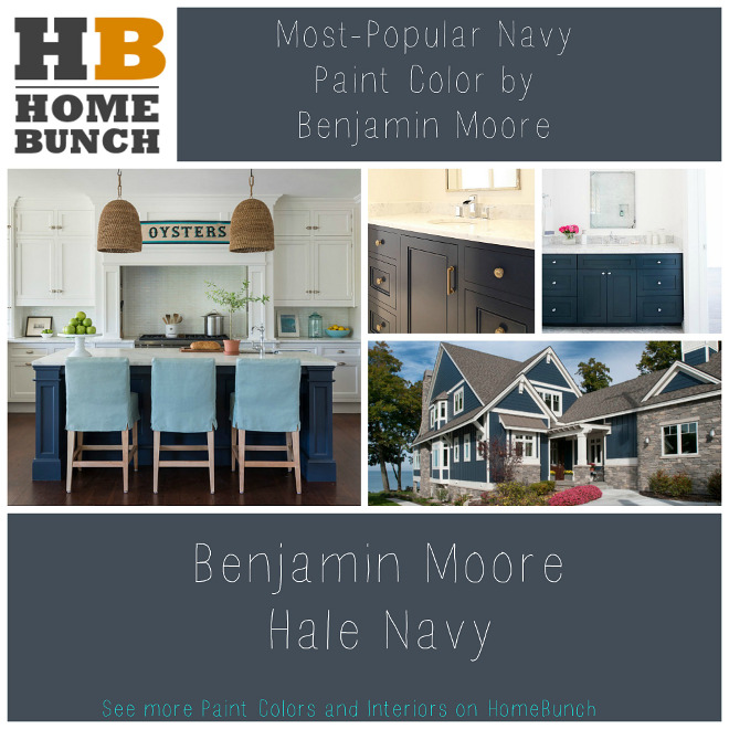 Most Popular Navy Paint Color by Benjamin Moore. Benjamin Moore Hale Navy. Paint Colors and Color Palettes. Most Popular Navy Paint Color by Benjamin Moore. Benjamin Moore Hale Navy. #BenjaminMooreHaleNavy Via HomeBunch