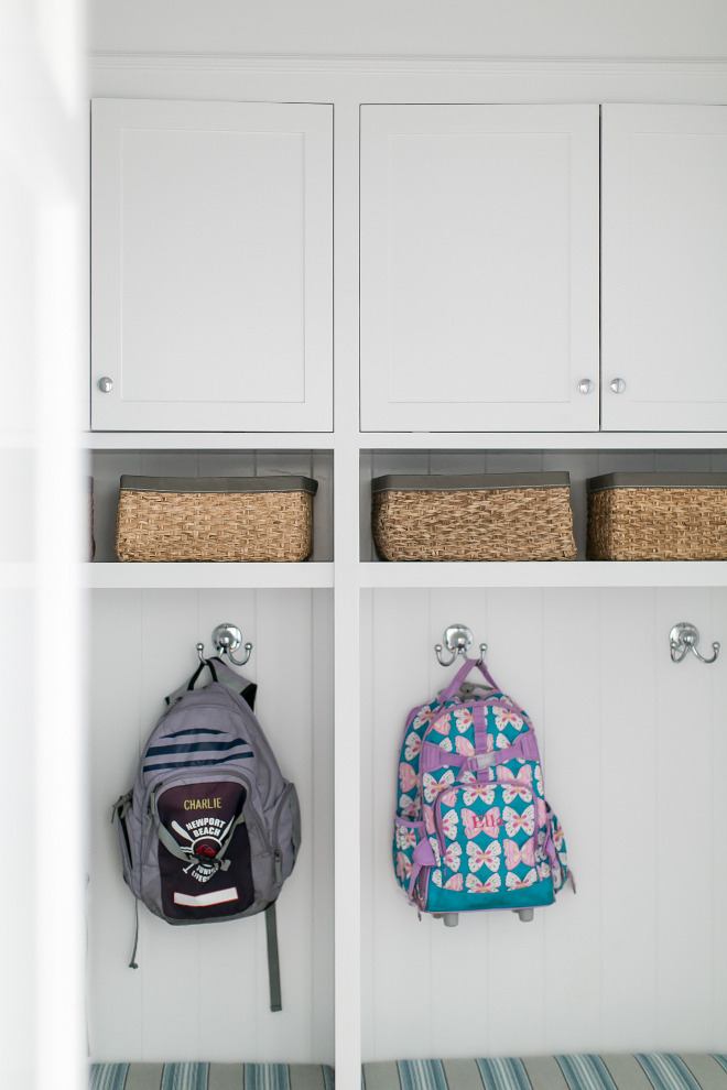 Mudroom. Mudroom with built-in cubbies and shelves for baskets. #mudroom #builtin #cubbies #shelves #baskets #storage