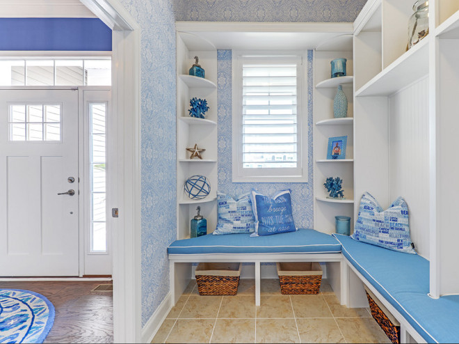 Mudroom off the entry. Blue and white Mudroom off the entry. Coastal mudroom off the entry #Mudroomofftheentry #Mudroom Schell Brothers