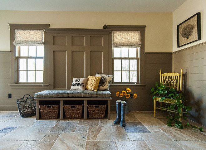 Mudroom. Mudroom wainscoting.Mudroom wainscoting height. Mudroom bench wainscoting #Mudroom #wainscoting #bench #benchwainscoting Welch Company Home + Design