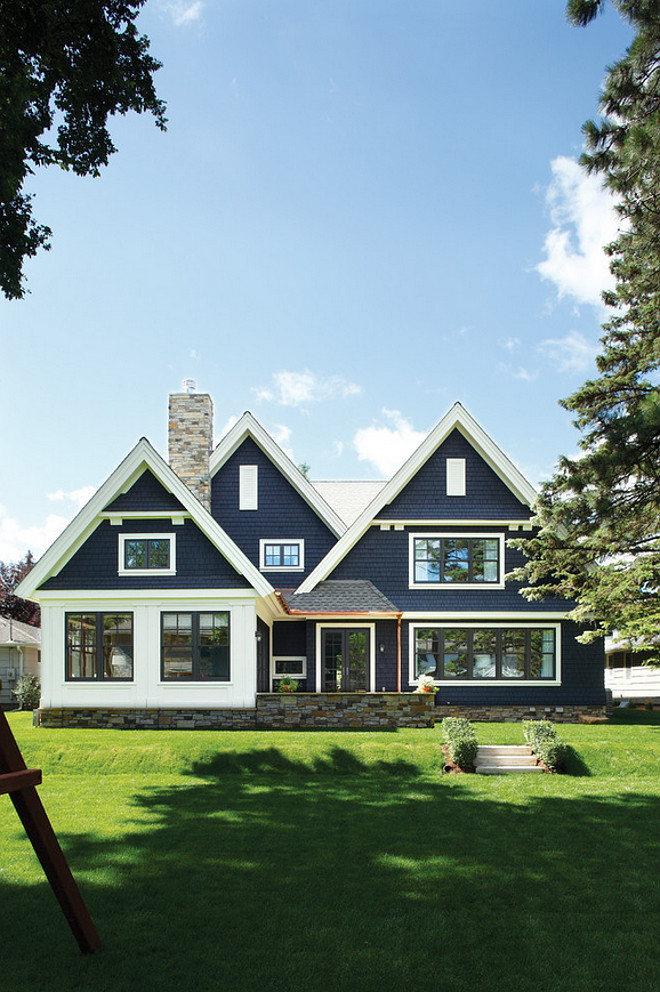 Navy home exterior with white trim. Navy home exterior with white trim. Navy home exterior with white trim #Navyexterior #homeexterior #whitetrim Kurt Baum & Associates