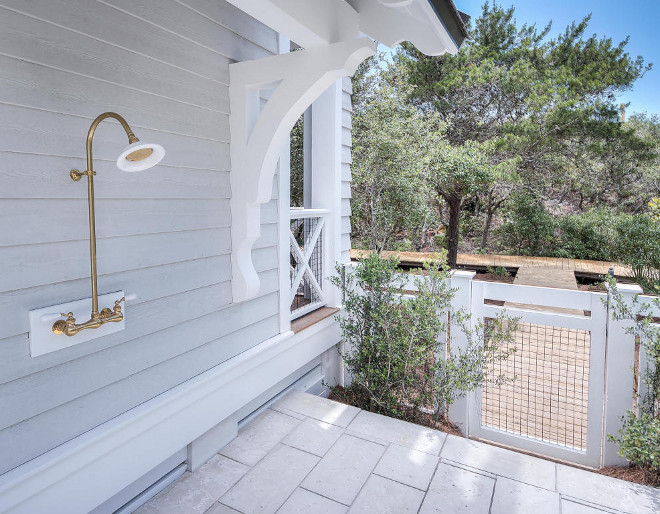 Outdoor Shower. Outdoor Brass Shower with Exposed Thermostat. Outdoor Shower. #ShowerExposedThermostat