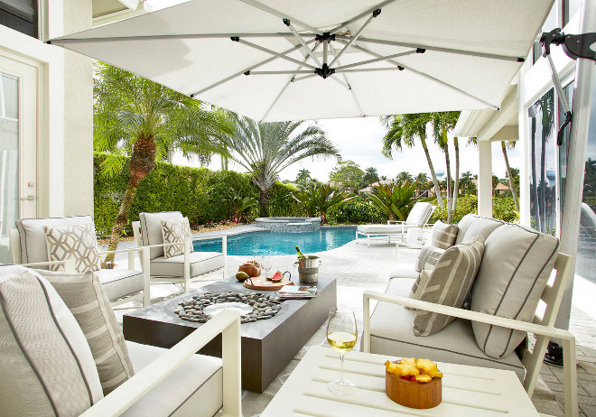 Outdoor Space Ideas. Backyard, outdoor spaces, pool, patio, patio furniture, firepit. This outdoor space has an open, contemporary feel. #Outdoors #Outdoorspaces #Patio #pool #patiofurniture #firepit #pool Krista Watterworth Design Studio. Photography by Mark Roskams.