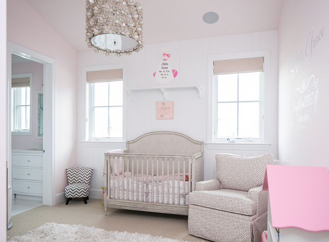 Pale Pink Nursery. I'm loving this pale pink and grey palette with a white shag rug. Isn't this nursery perfect? Churchill Design.