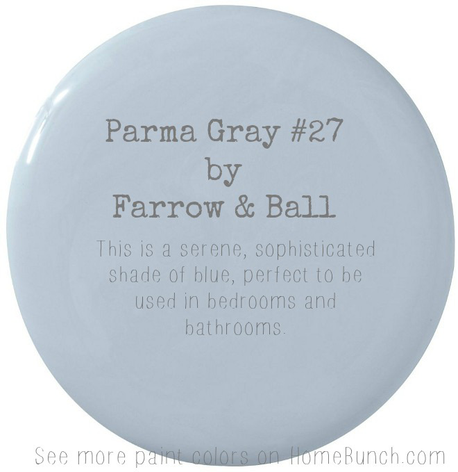 Parma Gray 27 Farrow & Ball. This is a serene, sophisticated shade of blue, perfect to be used in bedrooms and bathrooms. ParmaGray #FarrowandBall