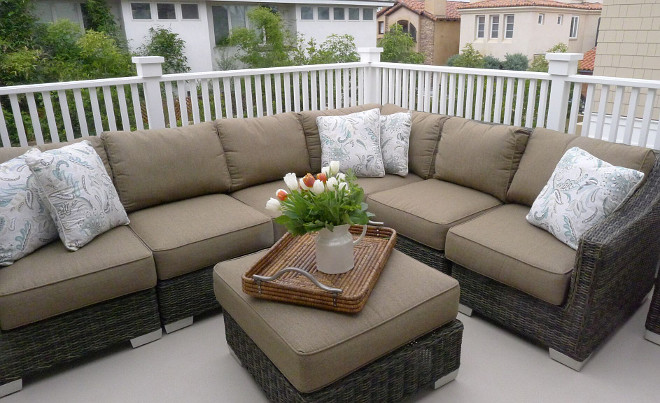 Patio sectional. A large sectional adds comfort and style to this balcony. #sectional #patio #balcony #outdoors Patterson Custom Homes