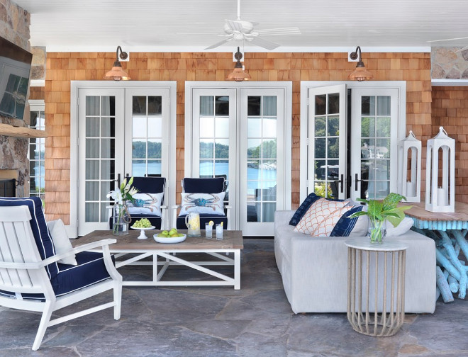Patio. Shingle beach house Patio with coastal inspired furniture and decor. #Patio Amy Studebaker Design
