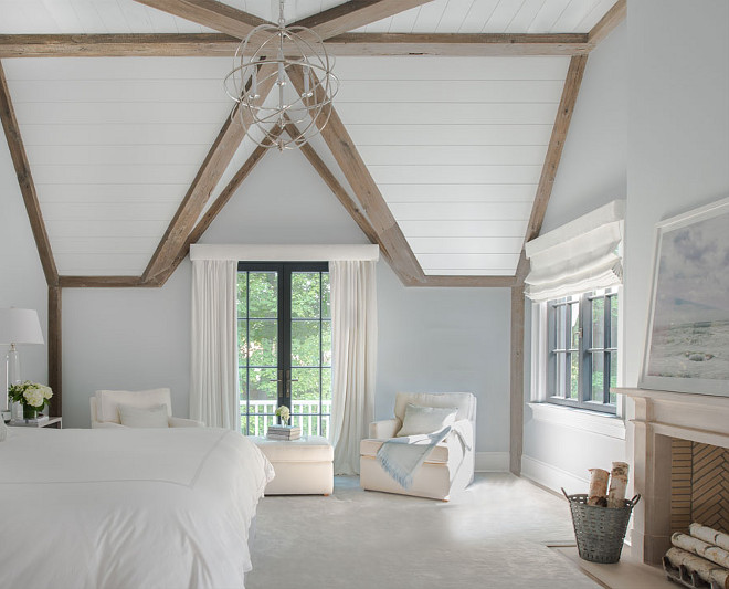 Plank Ceiling Paint Color. Plank ceiling paint color is Benjamin Moore Gray Cloud cut 50%. #PankCeiling #Plank #Ceiling #PaintColor #BenjaminMooreGrayCloud Brooks and Falotico Associates, Inc.