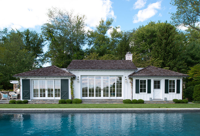 Pool House. Hamptons style pool house. #poolhouse #Hamptons Brooks and Falotico Associates, Inc.
