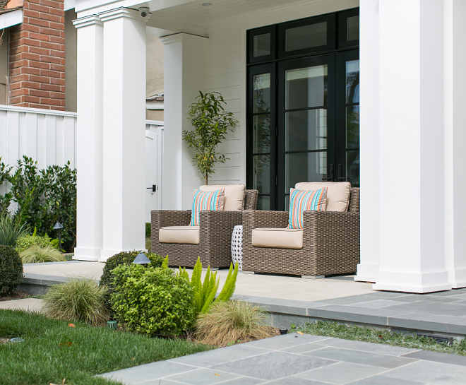 Porch. Front porch decor and furniture. Front porch slate floor tile. Front porch Columns. Front porch. #Frontporch #porch Brandon Architects, Inc. Churchill Design. Legacy CDM Inc.