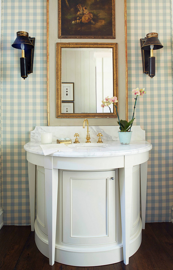 Powder Room Vanity. The powder room features a demilune vanity. Powder Room Circular Vanity. Powder Room Vanity Design #PowderRoom #Vanity Cantley & Company, Inc.