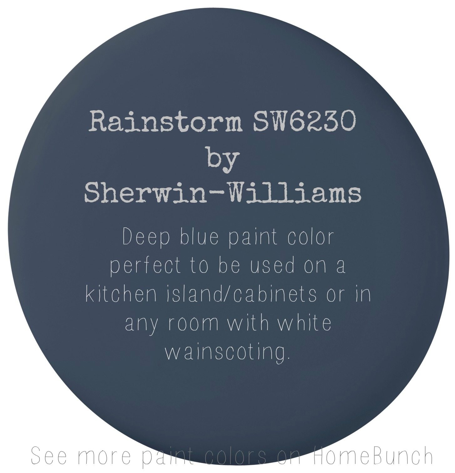 Rainstorm SW6230 by Sherwin Williams. Deep blue paint color perfect to be used on a kitchen island, cabinets or in any room with white wainscoting. #Rainstorm #SW6230 #SherwinWilliam Via Home Bunch.