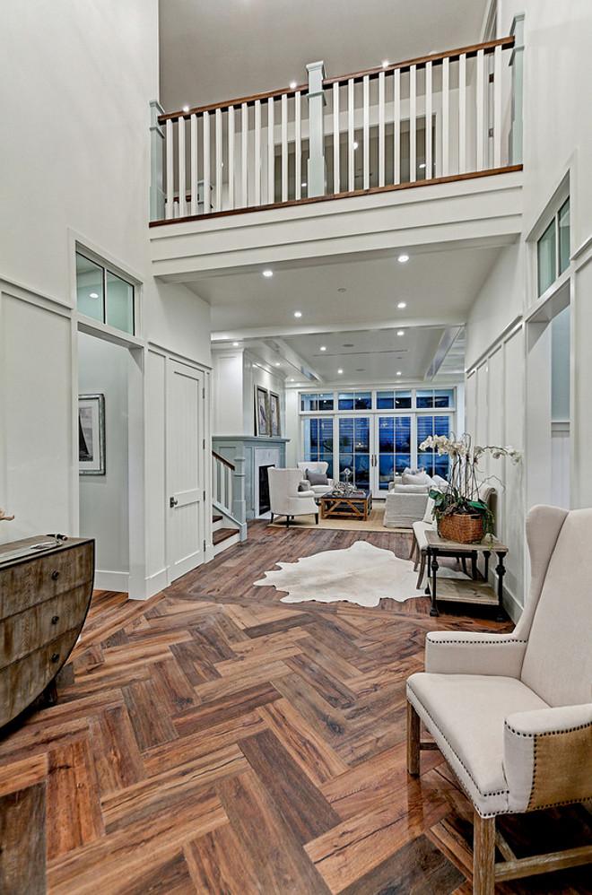 Reclaimed Wide Plank Floor. Herringbone Reclaimed Wide Plank Floor. Foyer with Herringbone Reclaimed Wide Plank Floors. #Herringbone #Reclaimed #WidePlank #Floor David Watson Architects