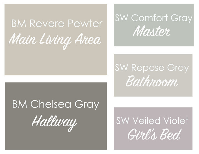 Revere Pewter by Benjamin Moore Coordinating Paint Color. Revere Pewter by Benjamin Moore Coordinating Paint Color: Main Living Area: Benjamin Moore Revere Pewter. Master Bedroom: Sherwin Williams Comfort Gray. Hallway: Benjamin Moore Chelsea Gray. Bathroom: Sherwin Williams Repose Gray. Girl's Bedroom: Sherwin Williams Veiled Violet.  Via This Bold Home