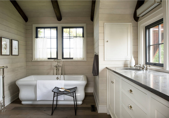 Rustic Bathroom. Rustic Bathroom with shiplap walls. Rustic Bathroom with shiplap walls and reclaimed plank floors. #RusticBathroom #Bathroom . #shiplap #walls #rusticplank #rusticplankfloors #rusticplankflooring Rehkamp Larson Architects, Inc
