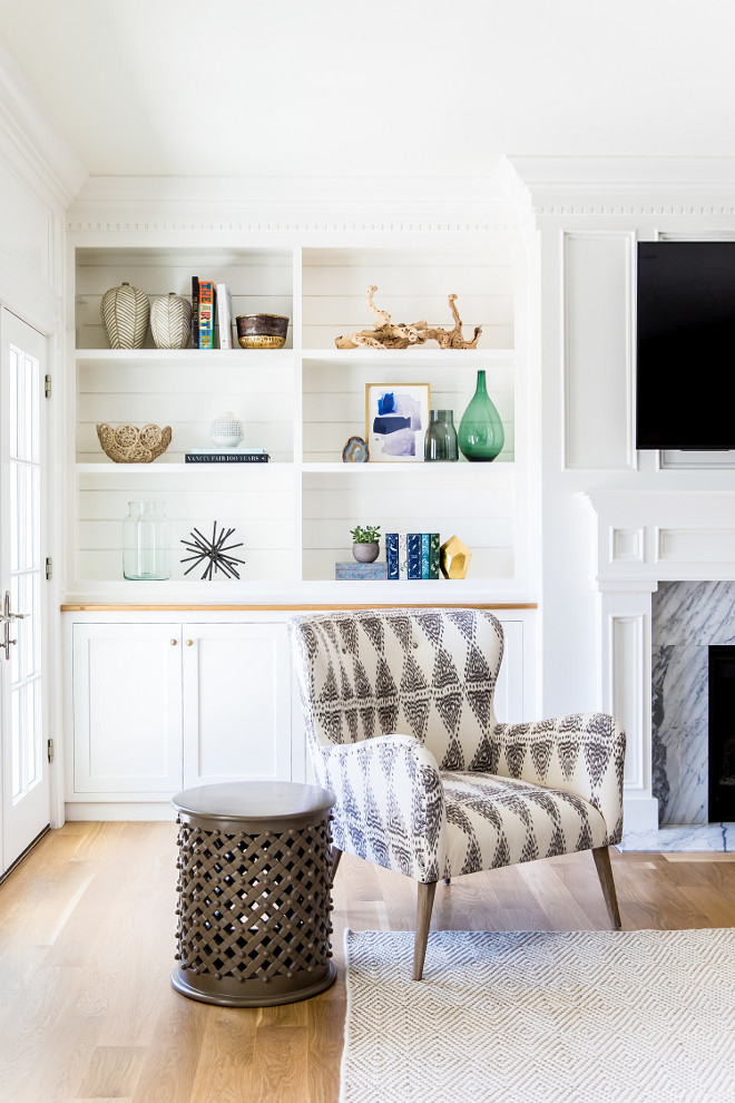 Shiplap Bookcase Back. Shiplap Bookcase Back Ideas. White built in bookcase with shiplap on the back. #Shiplap #Bookcase Studio McGee