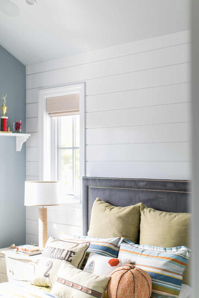 Shiplap Bedroom Wall. This bedroom features a great accent shiplap wall. Shiplap wall. Shiplap Bedroom Wall #Shiplap #Bedroom #Wall Churchill Design.