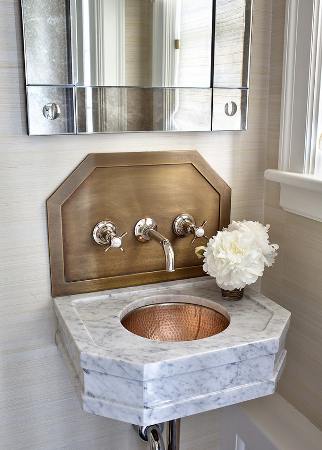 Small Bathroom Sink Ideas. Small Bathroom Sink. Small Bathroom Sink with Wall Mount Faucet. #SmallBathroom #Sink Alisberg Parker