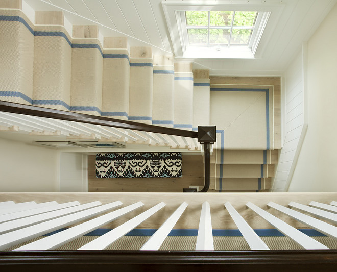 Staircase Runner. Beach house style staircase runner. #staircase #runner #StaircaseRunner Lynn Morgan Design.