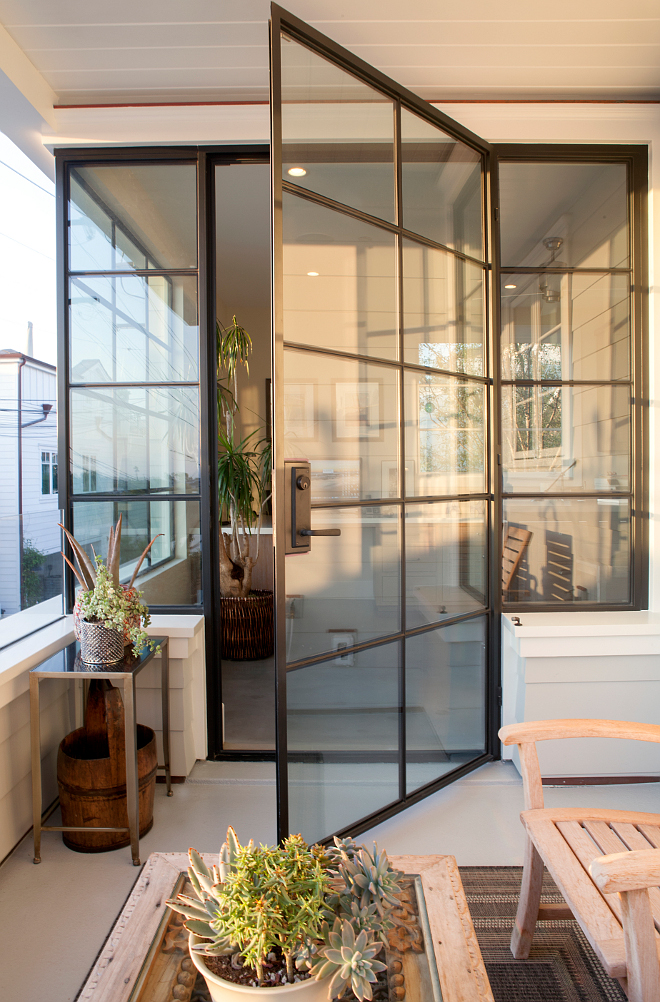 Steel Doors and Windows. The steel windows and doors add a punch of contemporary style to this home. #SteelDoors ##SteelWindows Patterson Custom Homes