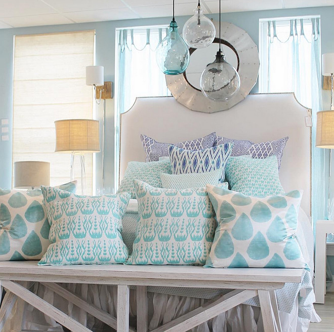 Turquoise and qhite bedroom. Beach, ocean colors in bedroom. Coastal bedroom. Turquoise. #Bedroom #Turquoise #decor #beachdecor #coastal #beachcolors #oceancolors #interiors The Welch Company.