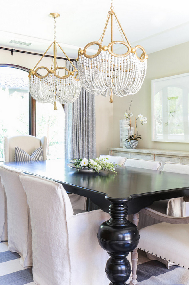 Two chandeliers above table. Dining room with two chandeliers. Dining room with two chandeliers above table. Dining room with two chandeliers #Diningroom #twochandeliers #diningtable Blackband Design