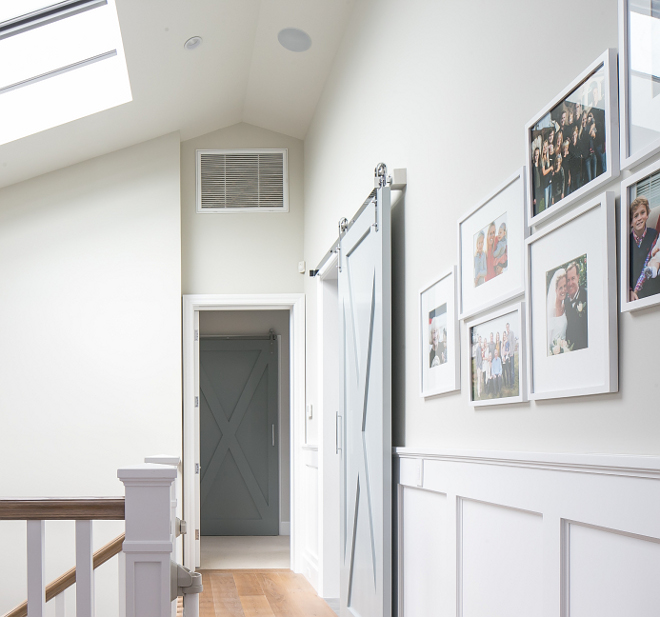 Upper Hall with barn door and wainscoting. Upper Hall with barn door and wainscoting ideas. #Hall #barndoor #wainscoting