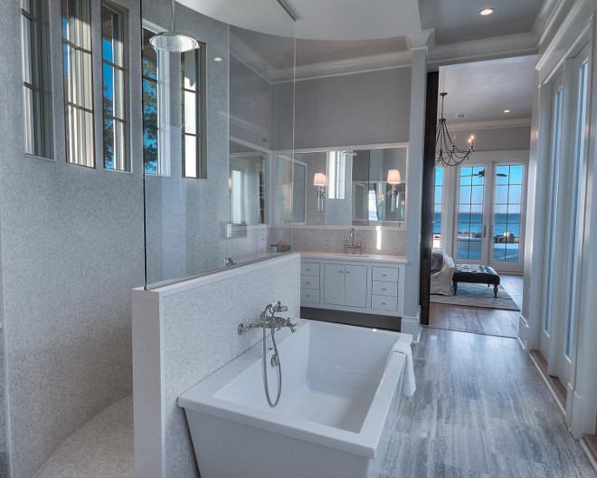 Walk in shower. Bathroom with Walk in shower behing freestading tub facing doors to outdoor area. #Bathroom #Shower #Walkinshower