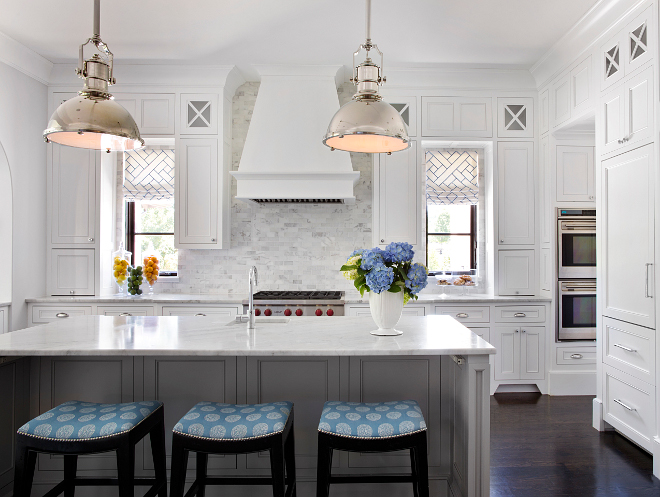 White Kitchen countertop. The countertop and backsplash tile are Calacatta marble. #whitekitchen #kitchen #white #marble #countertop #backsplash #Calacatta