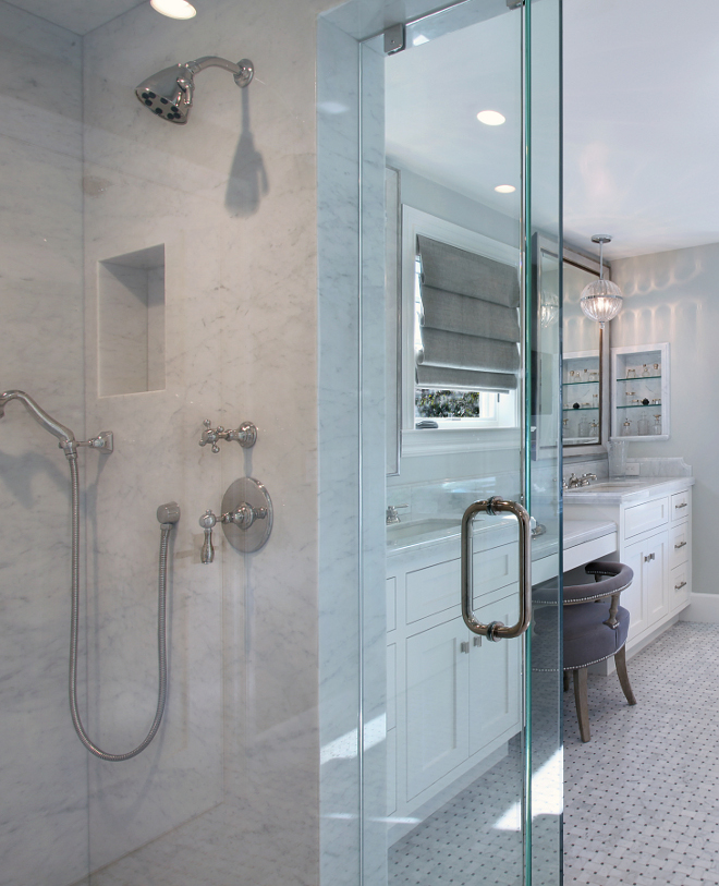 Shower marble slab. Shower walls, ceiling and bench are Carrara slab. #Shower #marble #slab #Carrara Patterson Custom Homes