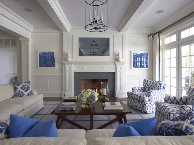 Symmetric Blue and white Living Room. Symmetric Blue and white Living Room Decor. Symmetric Blue and white Living Room Ideas. Symmetric Blue and white Living Room Design #Symmetric #Blueandwhite #LivingRoom Lynn Morgan Design.