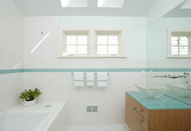 Bathroom with glass countertop. Bathroom glass countertop. Clean-look glass countertop #GlassCountertop #Bathroom #Glass #Countertop Design Solutions, Inc.