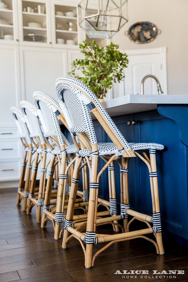 Navy Riviera Stools from Serena and Lily. Handcrafted of sustainable rattan and woven plastic seat, the Navy Riviera Stools from Serena and Lily add a coastal and relaxed feel to this kitchen island. #Navy #RivieraStools #SerenaandLily #kitchen #stools #countertstools #barstools #kitchenstool