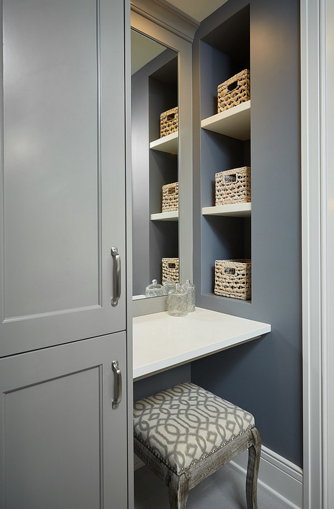 Small Bathroom Vanity. Small Bathroom Vanity Make up table Ideas. Small Bathroom Vanity Ideas. Small bathroom with vanity area, make up table and tall cabinet. Adding storage to a small bathroom. #Smallbathroom #vanity #makeup #storage #cabinet Mike Schaap Builders