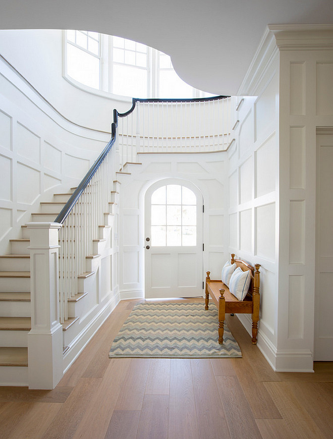 Foyer wainscoting. Amazing gallery of interior design and decorating ideas of Foyer Wainscoting in entrances and foyers. #Foyer #Wainscoting #Paneling #staircase #interiors Phoebe Howard. Jessie Preza Photography.