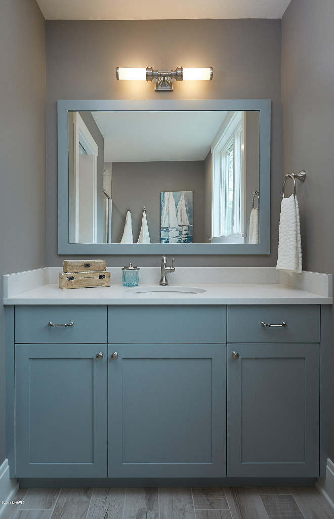 Benjamin Moore HC-165 Boothbay Gray. Cabinet paint color is Benjamin Moore HC-165 Boothbay Gray. Wall paint color is Benjamin Moore River Reflections. Benjamin Moore HC-165 Boothbay Gray #BenjaminMooreHC165BoothbayGray #BenjaminMooreRiverReflections