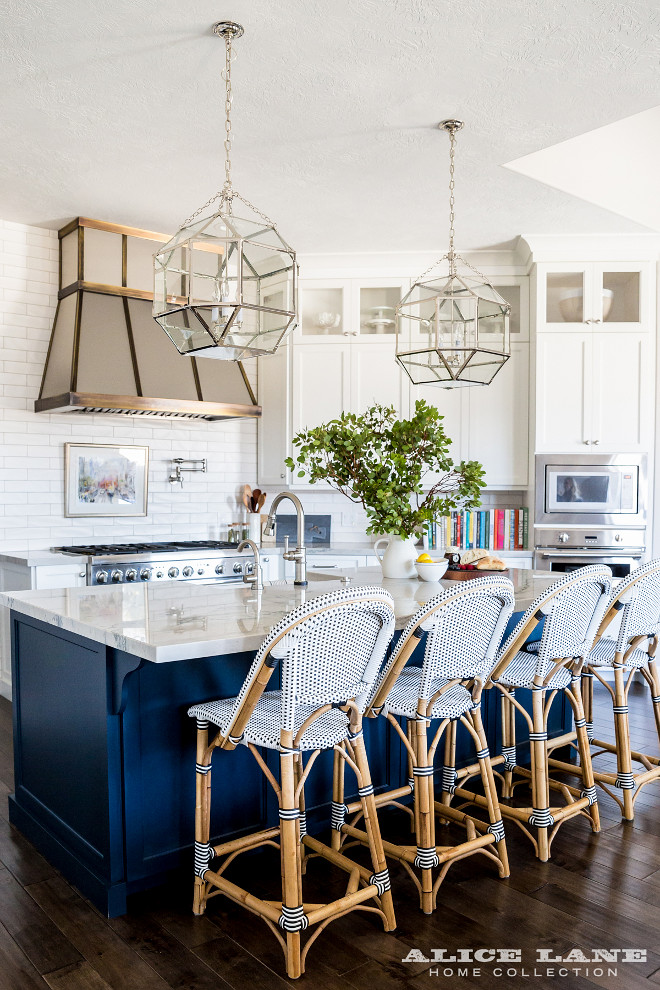 Kitchen Island featuring Morris Lantern. Kitchen with three Suzanne Kasler Morris Medium Lantern in Polished Nickel. Lighting Suzanne Kasler Morris 3 Light Foyer Pendant. #Lighting #SuzanneKasler #Morris 3Light #Pendant Alice Lane Home.