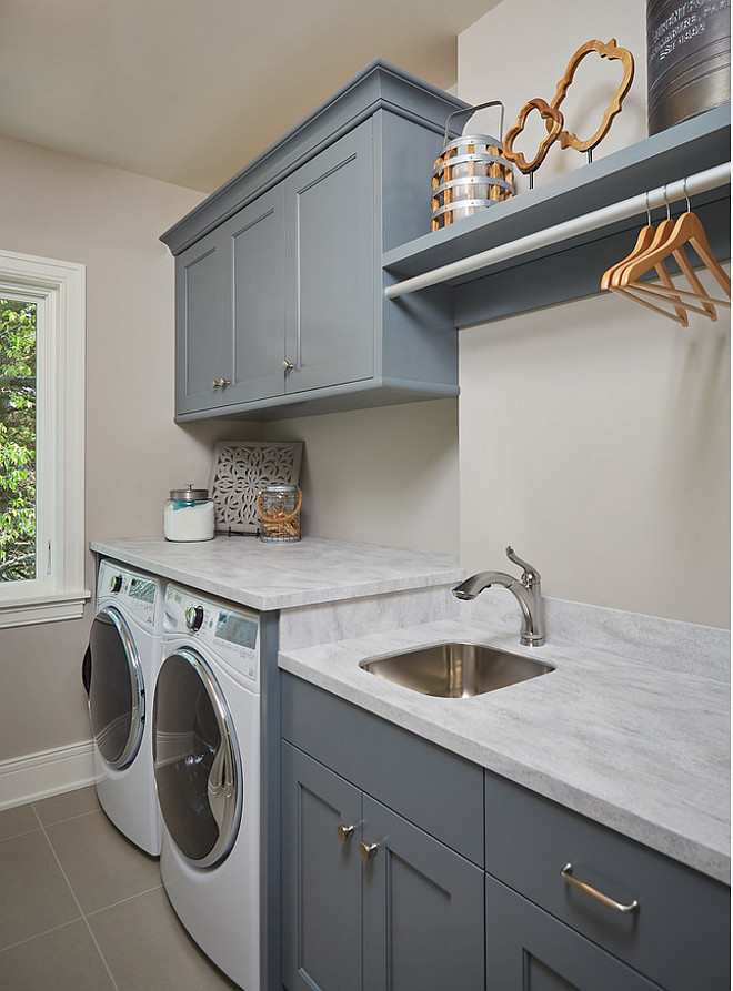 BM Grey Pinstripe. Laundry room cabinet paint color BM Grey Pinstripe. BM Grey Pinstripe is a dark grey with blue undertones. BM Grey Pinstripe #BMGreyPinstripe Mike Schaap Builders