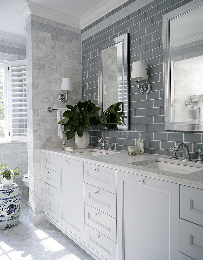 Bathroom Tile Combination. Bathroom Tile Combination. Bathroom Tile combination is hex floor tiles, grey glass subway tile and carrara marble wall tile. #bathroom #tile Heather Garrett Design