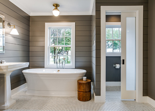 Bathroom grey shiplap. Bathroom grey shiplap walls. Bathroom grey shiplap wall ideas. Bathroom with dark grey shiplap. #Bathroom #greyshiplap #Bathroomgreyshiplap #bathroom #grey #shiplap Redo