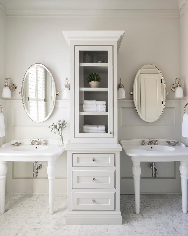 Bathroom washstand storage ideas. L. Kae Interiors