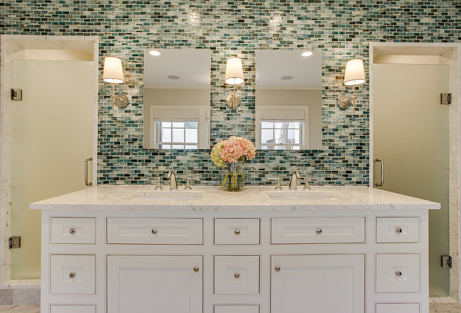 Batroom with His and Her Sinks & His & Her Showers. Bathroom with inset cabinet and tile accent wall. The wall tile is from Complete Tile Collection - Zumi Glass Tile. Bathroom with inset cabinet and tile accent wall ideas. #Bathroom #insetcabinet #tileaccentwall Redo