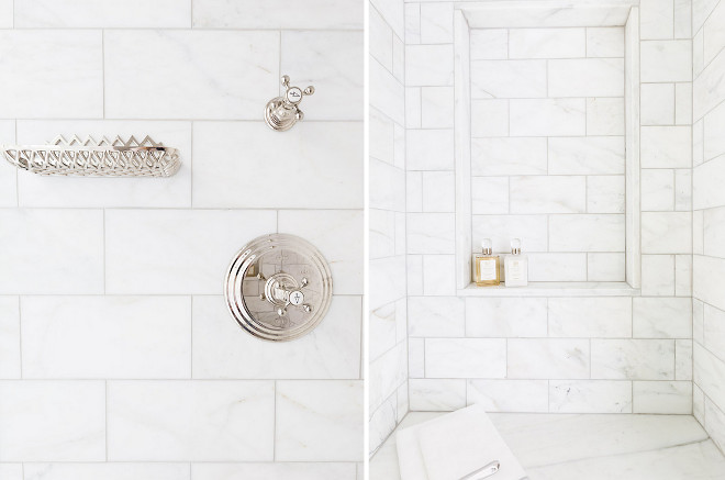 Bathroom. Bathroom features walk in shower features honed white marble tiles fitted with a tiled niche shelf placed over a marble shower bench. Shower also features polished nickel shower kit as well as a polished nickel soap dish mounted on the wall. Sarah Bartholomew Design